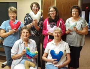 Christ the King LC members make heart-shaped pillows for local cancer center patients
